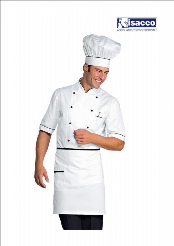 Giacca Cuoco Basic Nera e Bianca Manica Lunga tessile astorino Ricamo Gratuito Modello Donna Made in Italy