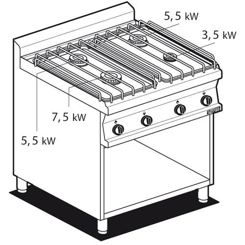 piano cottura gas su mobile a giorno - 4 fuochi - lotus 70 ... - Cucina Quattro Fuochi