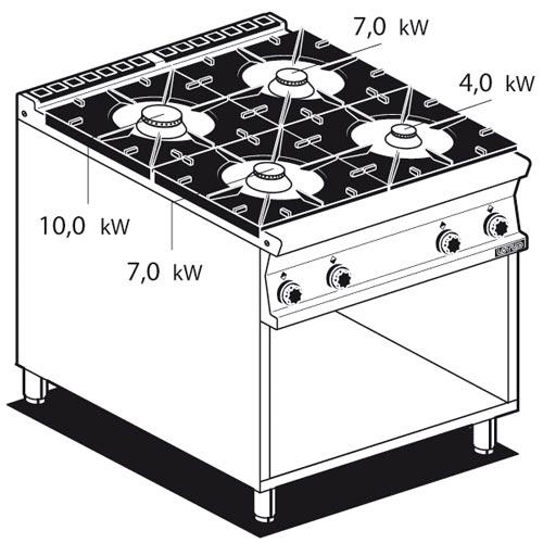 Piano cottura gas su mobile a giorno 4 fuochi lotus 90 cucina piano cottura - Mobile piano cottura ...