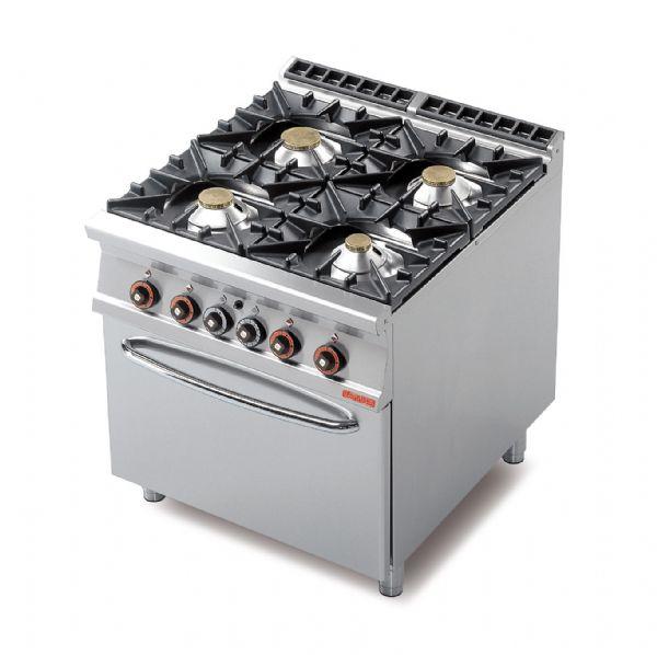 cucina 4 fuochi - forno a gas statico gn 2/1 - lotus 90 - cucina ... - Cucina Quattro Fuochi