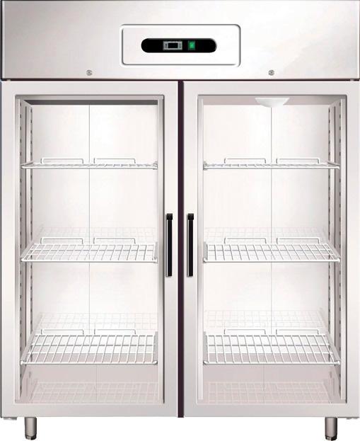 Armadio refrigerato gn2 1 ventilato 2 porte vetro temp for Porte normale